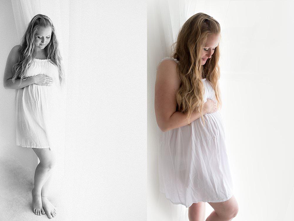 Junge hübsche Frau in einem weißen dünnen Kleid